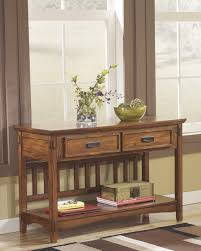 ashley t719 4 cross island brown oak stained finish console sofa table