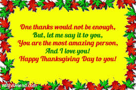 one thanks would not be enough thanksgiving card message