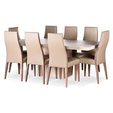 Travertine Dining Room Table Alex Travertine Dining Table U0026 Beige Leather Chairs Setting
