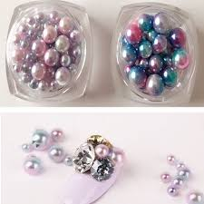 1pc gradient pearl beauty nail art decorations 3d nail stickers