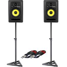 krk home theater krk rokit rp5 g3 pair monitor stands leads bundle the disc