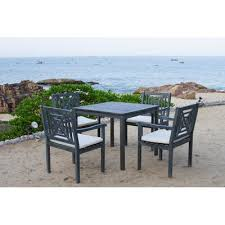 Outdoor Dining Set With Bench Safavieh Del Mar 5 Piece Dining Set With Cushion U0026 Reviews Wayfair
