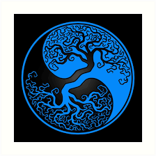 blue and black tree of yin yang prints by jeff bartels