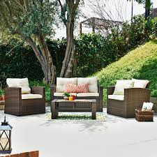 Oasis Outdoor Patio Furniture by Thy Hom Roatan 4 Piece Outdoor Wicker Conversation Set Hayneedle