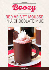 how to make edible chocolate mugs with a boozy red velvet surprise