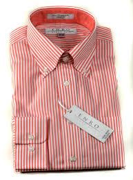 enro men u0027s long sleeve no iron dress shirt coral striped 156763