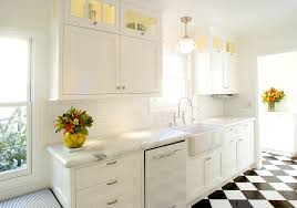 kitchen corridor kitchen transitional with flat panel cabinets