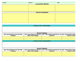 common core marzano interactive lesson plan template kindergarten math