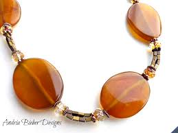 amber stone necklace images Fall trees amber agate stone czech glass metal beads with png