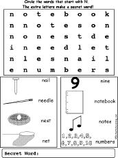letter n wordsearch enchantedlearning com