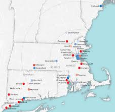 New England Map by Population Change In New England Cities