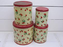 vintage metal kitchen canisters 4 vintage tin kitchen canister set strawberries pattern gr8t