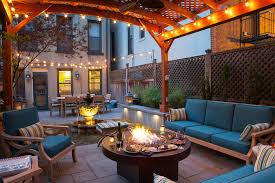 Elevated Platform Bed Elevated Platform Bed Patio Transitional With String Lights String