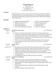 Resume Examples For Hospitality by Best Hotel Server Resume Example Livecareer