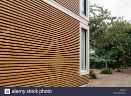 Wood Slats by Modern Architecture Facade With Lining Of Wood Slats Stock Photo
