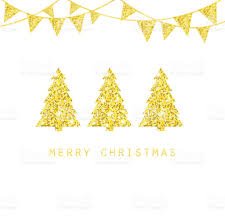 merry christmas design golden xmas trees glitter bunting