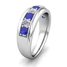 sapphire and wedding band his and wedding band platinum pave sapphire wedding rings