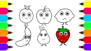 how to draw fruits banana orange apple lemon coloring pages
