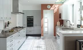 light grey kitchen paint cork tile floor brown wooden kitchen