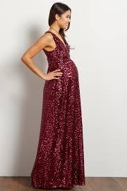 maternity evening dresses burgundy sequin v neck sleeveless maternity evening gown