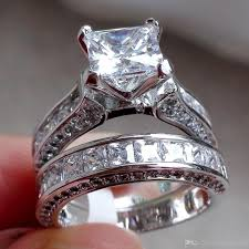 silver engagement ring gold wedding band 2018 new fashion womens vintage white sapphire diamond 925