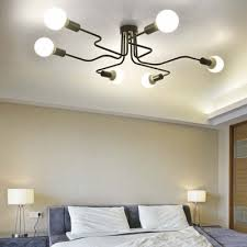 Ceiling Light Semi Flush Black Wrought Iron 6 Light Industrial Large Led Semi Flush Ceiling