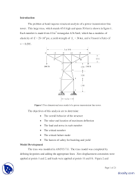 finite element analysis of power transmission line tower physics