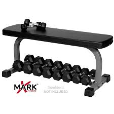 amazon com xmark fitness flat weight bench with dumbbell rack xm