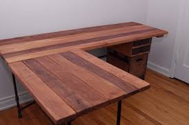 Desk L Diy Reclaimed Wood L Shaped Desk Home Design Ideas