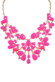 pink necklace images Pink gold beaded statement necklace jpg