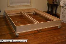 Build Platform Bed Frame by Diy Stained Wood Raised Platform Bed Frame U2013 Part 1 Wood Beds