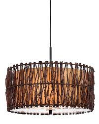 tree twigs drum pendant light chandelier fixture round