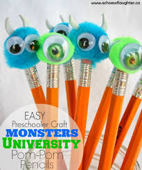 Monsters University Halloween by Monsters University Pom Pom Pencils Craft Echoes Of Laughter