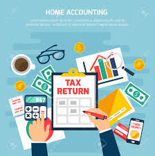 home accounting composition with money and finance symbols on