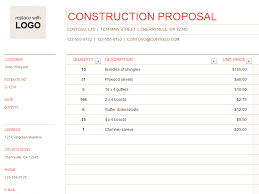 bid estimate template construction proposal office templates