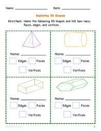 3d shapes worksheets 5th grade geometry classify two dimensional