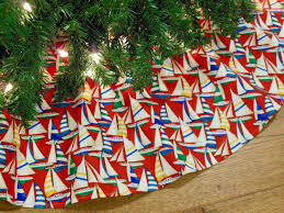 christmas tree skirt with sailboats nautical tree skirt