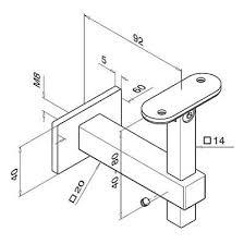square adjustable handrail bracket flat plate to flat mount