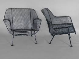 Wrought Iron Mesh Patio Furniture by Pair Of Woodard Wrought Iron With Mesh Lounge Chairs At 1stdibs