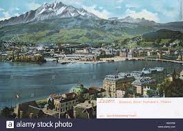 general view of lucerne switzerland with the kursaal spa stock