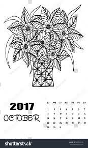 october 2017 calendar art black stock vector 506705218
