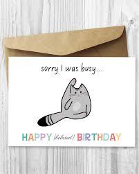 cat birthday card happy belated birthday cat digital card