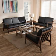 American Black Walnut Laminate Flooring Baxton Studio Venza Mid Century Modern Walnut Wood Black Faux