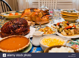 thanksgiving turkey dinner on table usa stock photo royalty