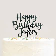 birthday cake topper modern cursive custom personalized name happy birthday cake topper