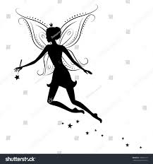 silhouette fairy magic wand vector illustration stock vector