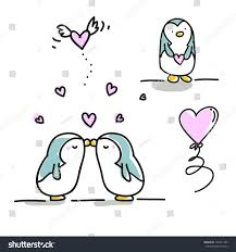 valentines day cartoons set cute penguins stock vector 126741383