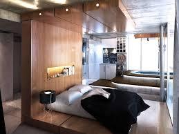 bedroom creative wood bedframe elevated platform frame interior