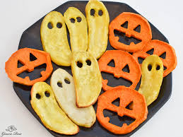 halloween kid party food roasted sweet potato jack o lantern faces and ghosts
