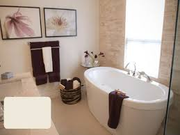 gray wall paint standalone bathtub glass window shower head
